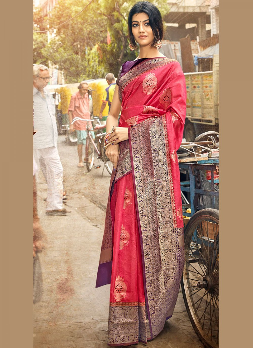Art Silk Weaving Hot Pink and Purple Traditional Saree
