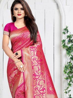 Art Silk Weaving Hot Pink Silk Saree