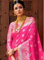Art Silk Weaving Hot Pink Traditional Designer Saree