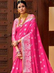 Art Silk Weaving Hot Pink Traditional Designer Saree