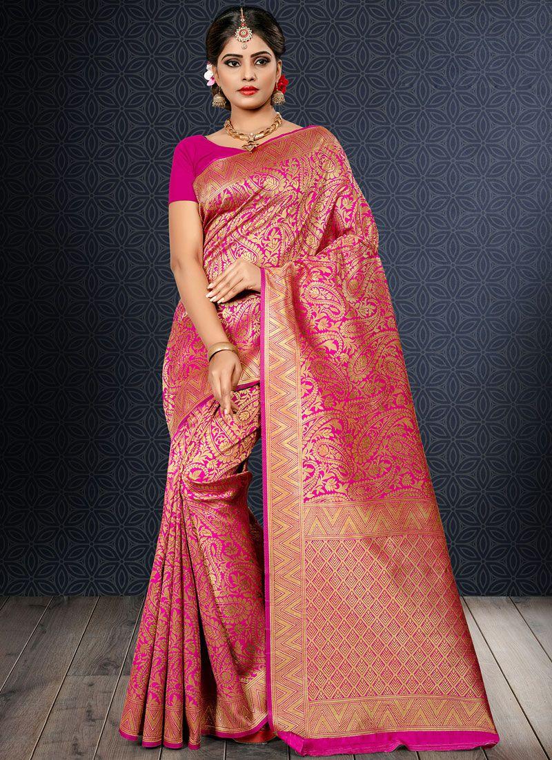 Art Silk Weaving Hot Pink Traditional Saree