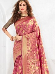 Art Silk Weaving Hot Pink Traditional Saree