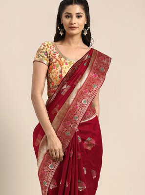 Art Silk Weaving Maroon Traditional Saree