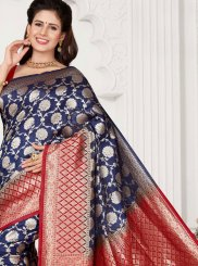 Art Silk Weaving Navy Blue Traditional Designer Saree