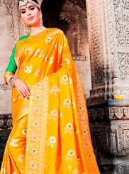 Art Silk Weaving Orange Designer Traditional Saree