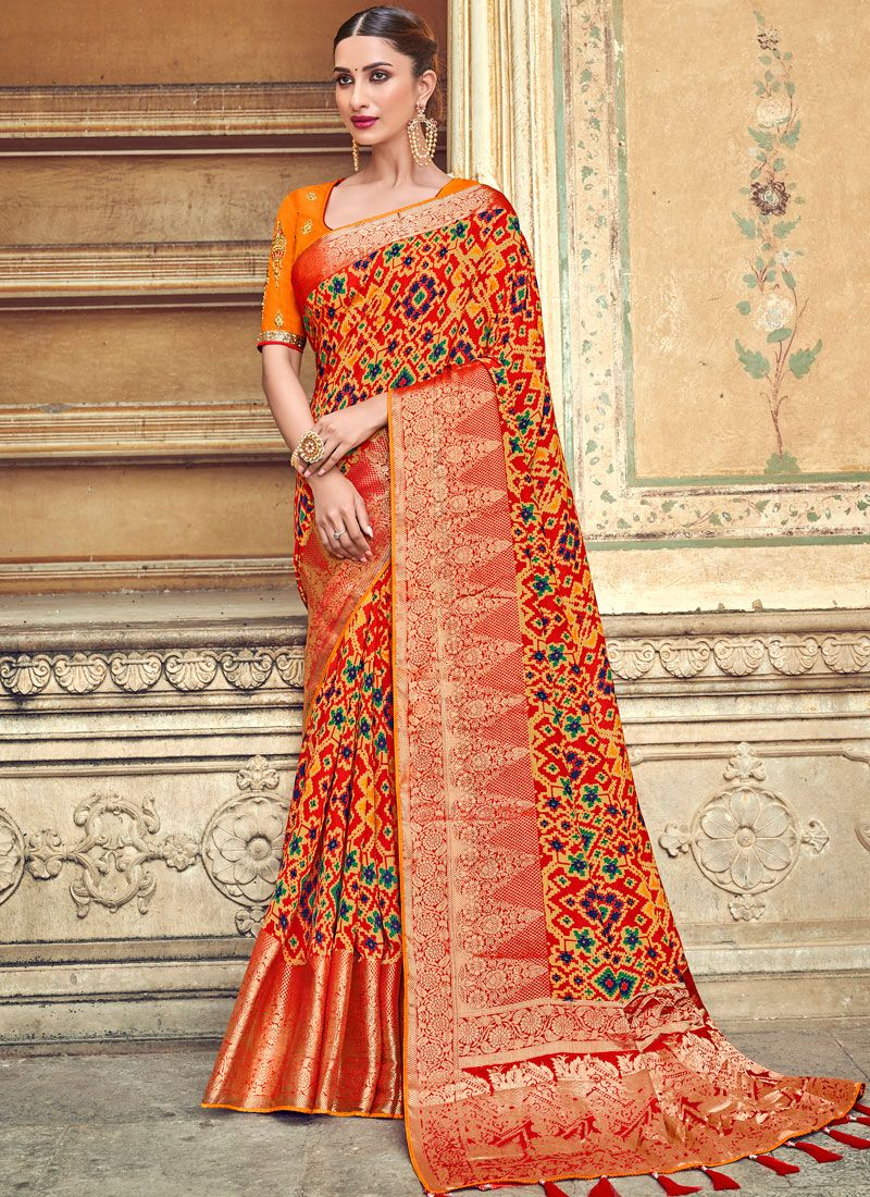 Art Silk Weaving Orange Designer Traditional Saree
