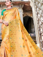 Art Silk Weaving Orange Traditional Designer Saree