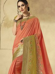 Art Silk Weaving Peach Traditional Designer Saree