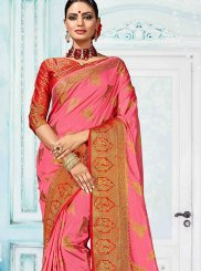 Art Silk Weaving Pink Designer Traditional Saree