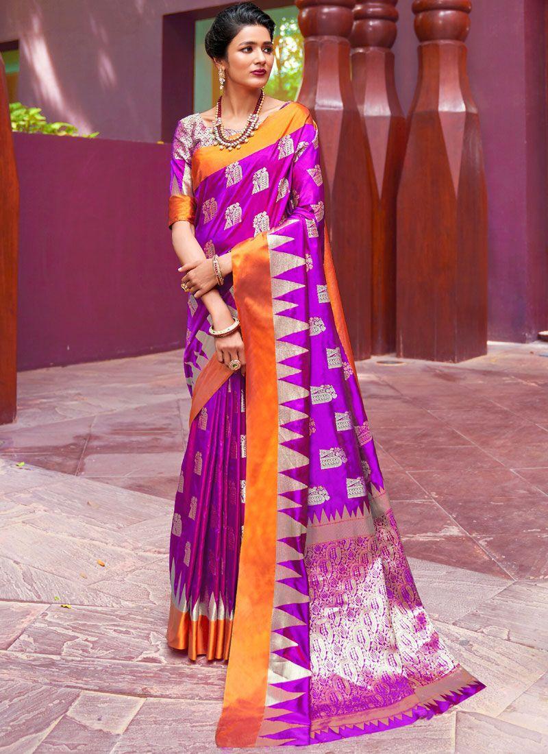 Art Silk Weaving Purple Designer Traditional Saree