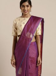 Art Silk Weaving Purple Traditional Saree