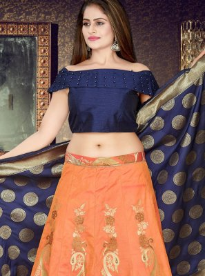 Art Silk Weaving Readymade Lehenga Choli in Peach
