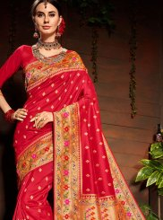 Art Silk Weaving Red Designer Saree