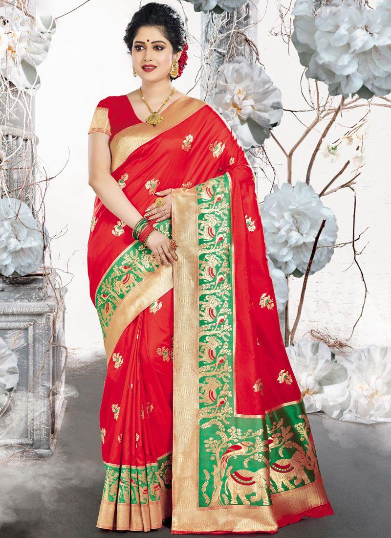 Art Silk Weaving Red Designer Traditional Saree