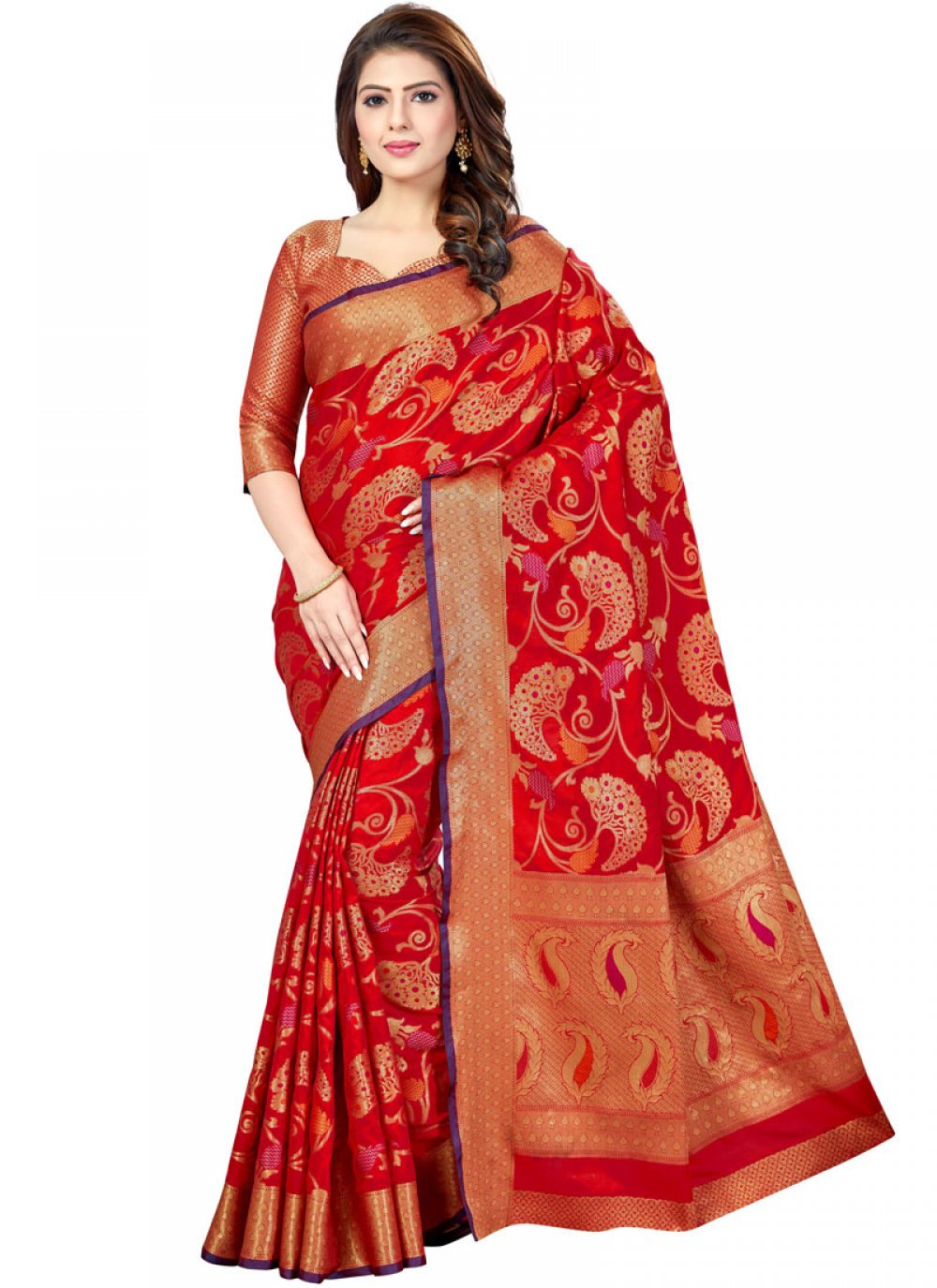 Art Silk Weaving Red Designer Traditional Saree