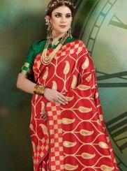 Art Silk Weaving Red Traditional Designer Saree