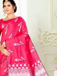 Art Silk Weaving Rose Pink Designer Traditional Saree