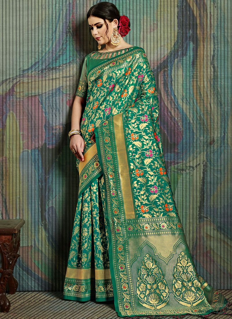 Art Silk Weaving Sea Green Designer Traditional Saree