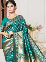 Art Silk Weaving Sea Green Designer Traditional Saree