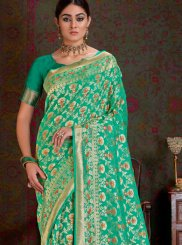 Art Silk Weaving Sea Green Traditional Designer Saree