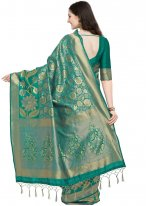 Art Silk Weaving Sea Green Traditional Saree