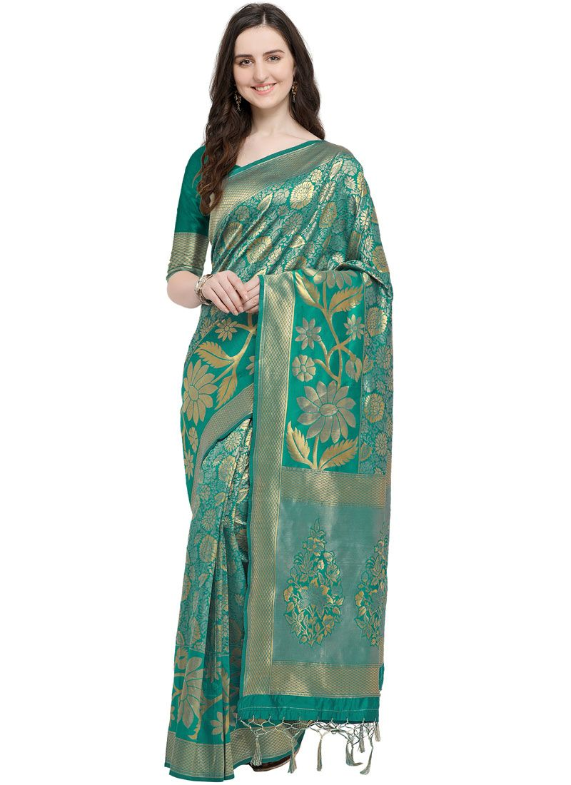 Art Silk Weaving Sea Green Traditional Saree