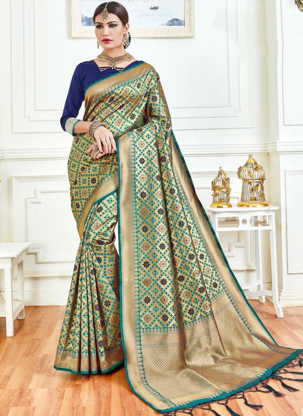 Art Silk Weaving Silk Saree in Blue