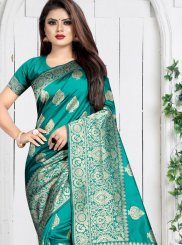 Art Silk Weaving Silk Saree in Sea Green