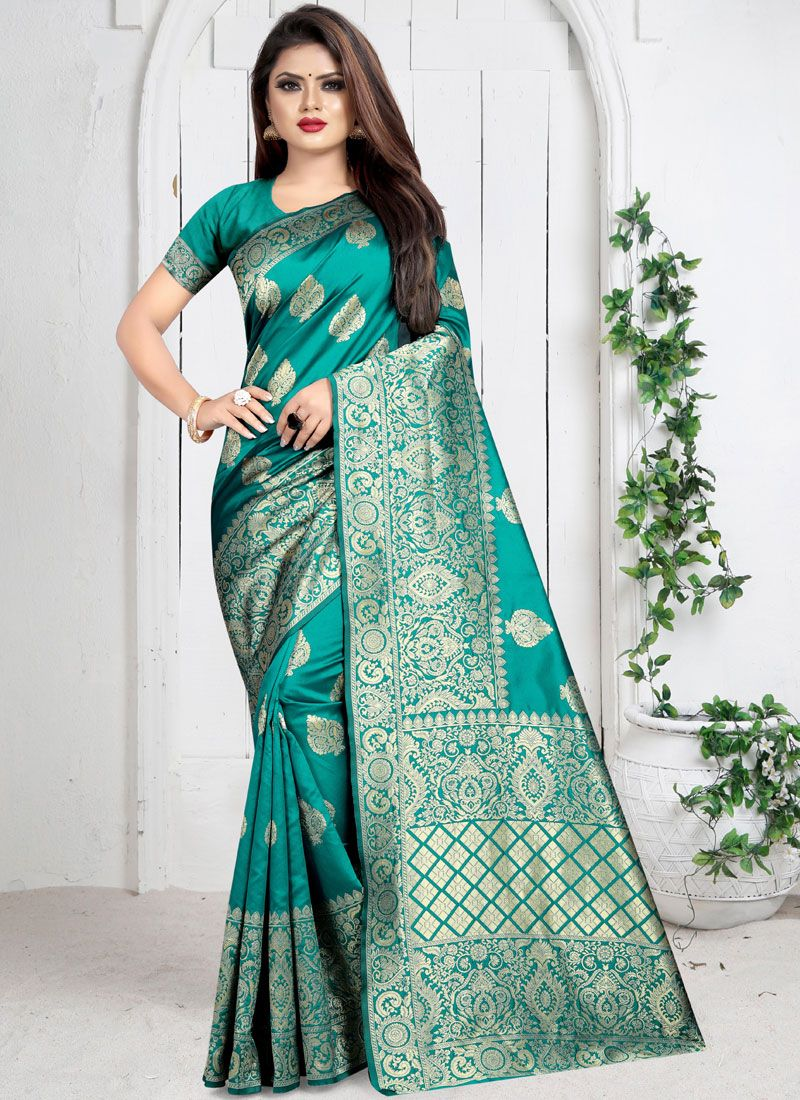Art Silk Weaving Silk Saree in Sea Green