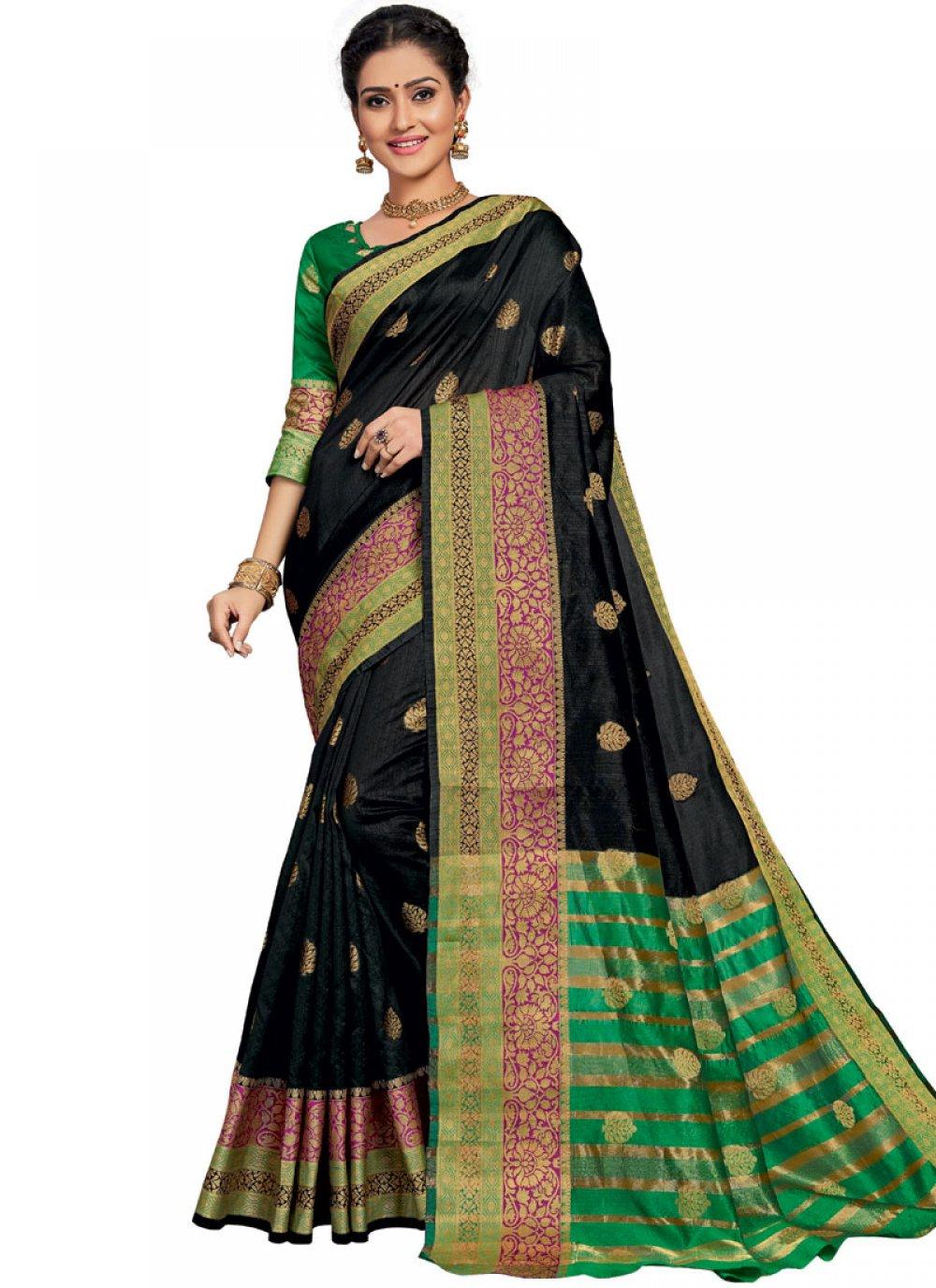 Art Silk Weaving Traditional Designer Saree in Black