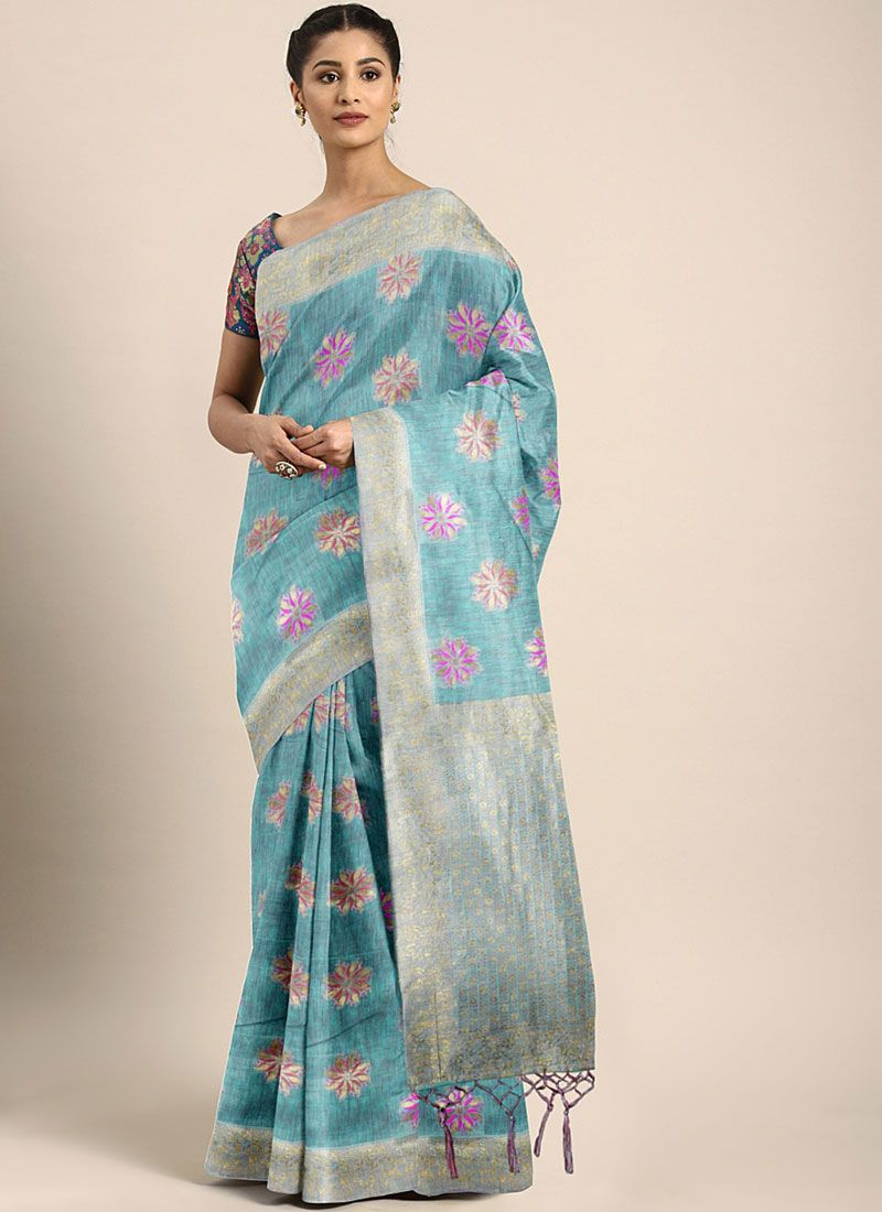 Art Silk Weaving Traditional Designer Saree in Blue