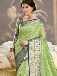 Art Silk Weaving Traditional Designer Saree in Green