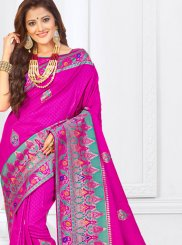 Art Silk Weaving Traditional Designer Saree in Hot Pink