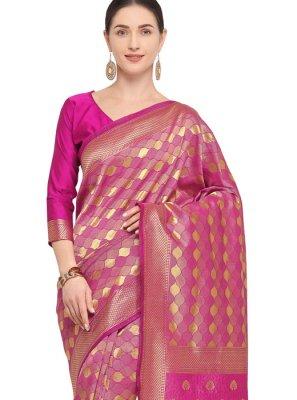 Art Silk Weaving Traditional Designer Saree in Hot Pink