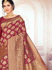 Art Silk Weaving Traditional Designer Saree in Maroon
