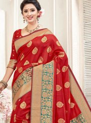 Art Silk Weaving Traditional Designer Saree in Red