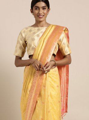 Art Silk Weaving Traditional Designer Saree in Yellow