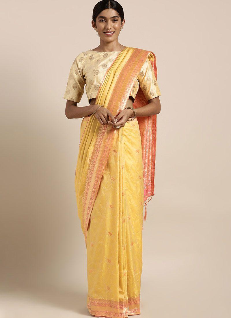 Art Silk Weaving Traditional Designer Saree in Yellow