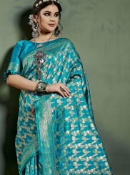 Art Silk Weaving Traditional Saree in Blue