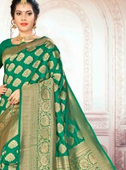 Art Silk Weaving Traditional Saree in Green