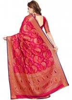 Art Silk Weaving Traditional Saree in Hot Pink