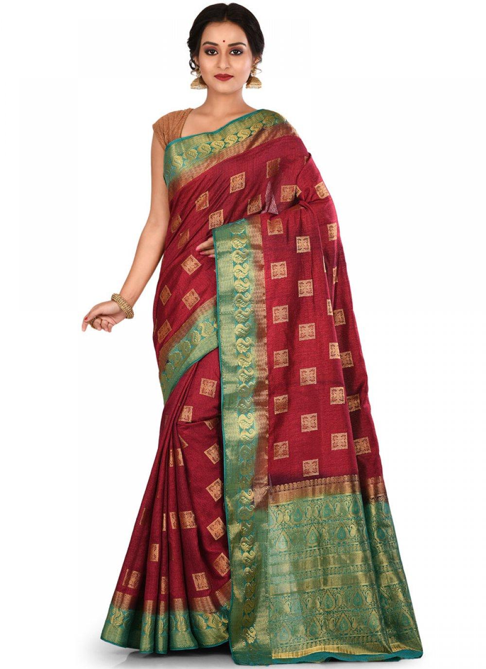 Art Silk Weaving Traditional Saree in Maroon
