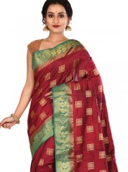Art Silk Weaving Traditional Saree in Maroon