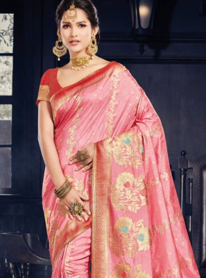 Art Silk Weaving Traditional Saree in Pink