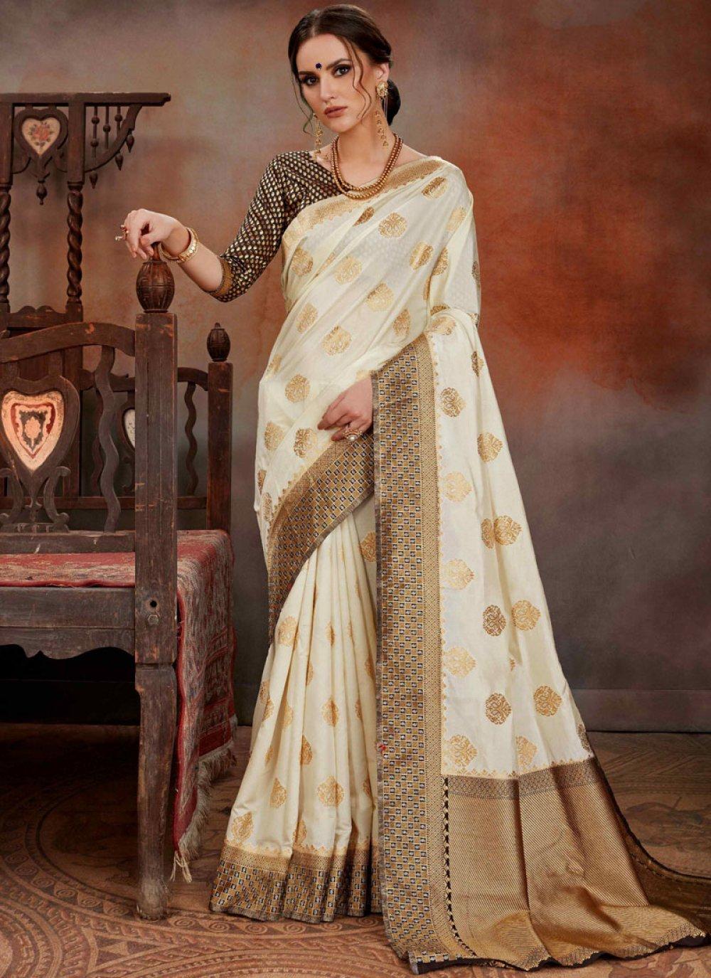 Art Silk Weaving Cream Traditional Designer Saree
