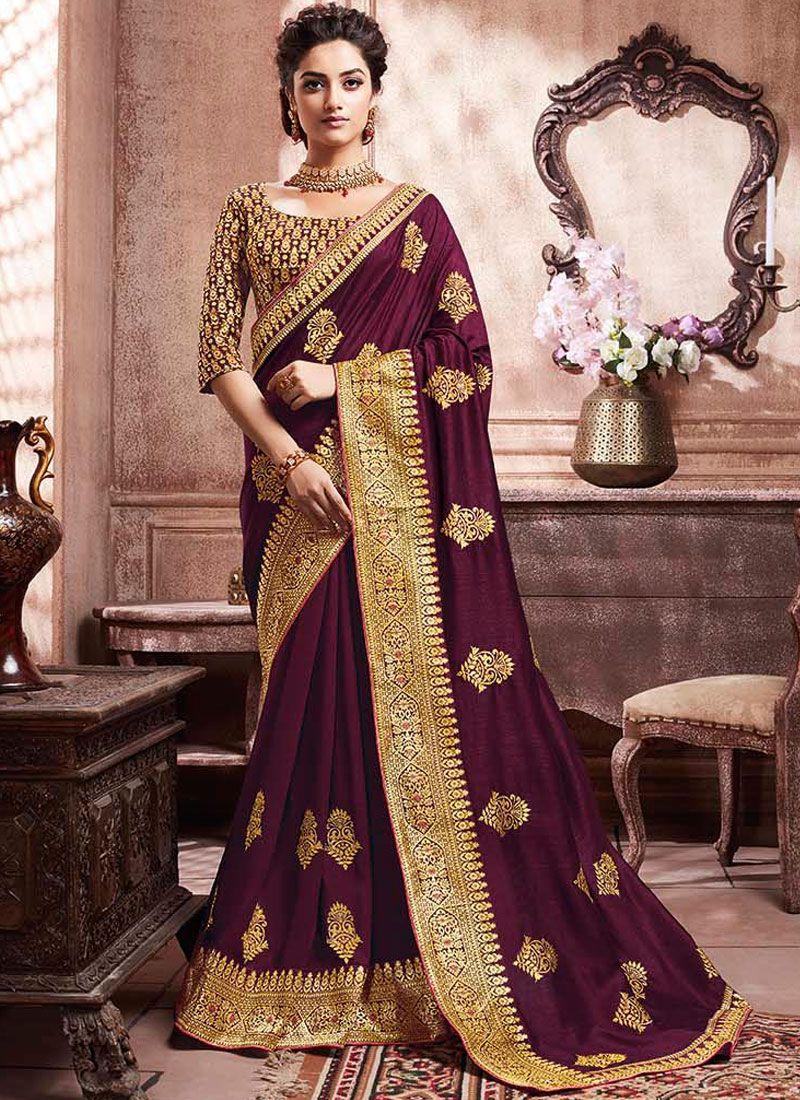 Art Silk Weaving Wine Trendy Saree