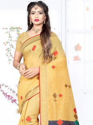 Art Silk Weaving Yellow Designer Traditional Saree