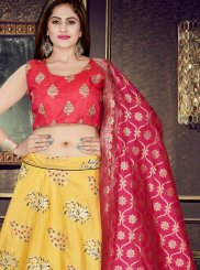 Art Silk Weaving Yellow Readymade Lehenga Choli