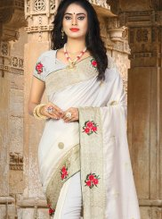 Art Silk White Resham Traditional Designer Saree