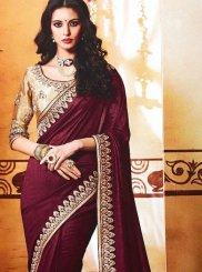 Art Silk Wine Designer Saree